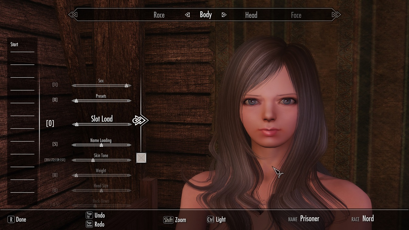 skyrim how to make character preset