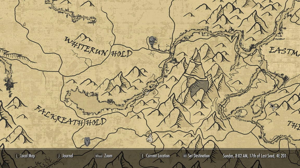 a quality world map and solstheim map with roads インターフェース