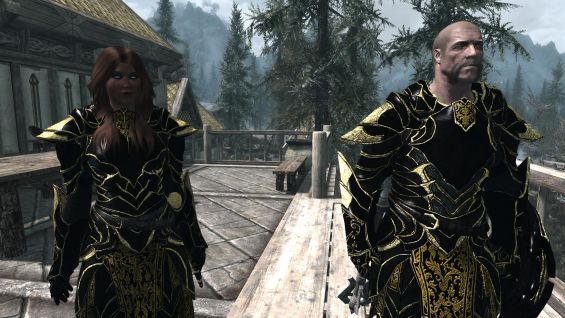 Black and Gold Ebony Armor and Weapons 武器・防具セット