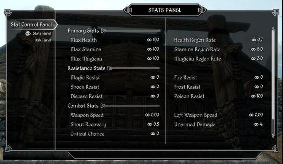 Stat Control Panel ゲームシステム変更 - Skyrim Mod